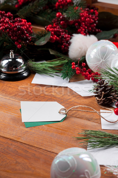 The wooden table and Christmas decoration Stock photo © master1305