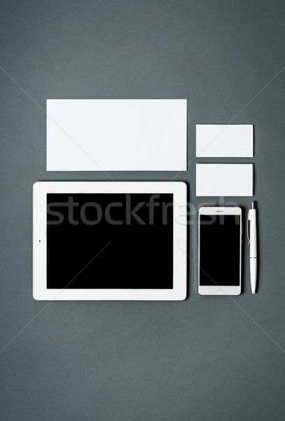Business Vorlage Karten Papiere Tablet Stock foto © master1305