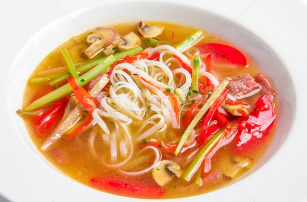 スープ コメ 麺 牛肉 キノコ 白 ストックフォト © master1305