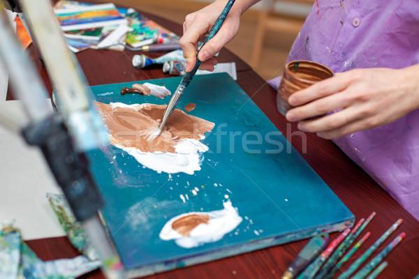 Hände Palette Öl Schule Arbeit Stock foto © master1305