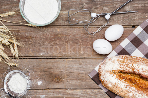 The bread on an wooden background Stock photo © master1305