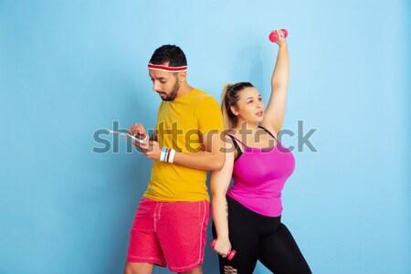 Genç serin siyah adam beyaz kadın dans Stok fotoğraf © master1305