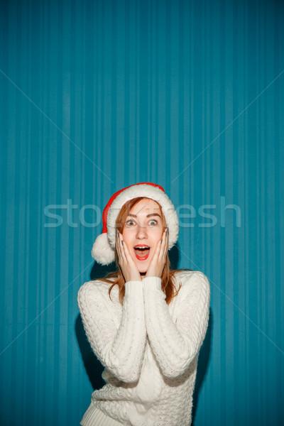 удивленный Рождества девушки Hat Сток-фото © master1305