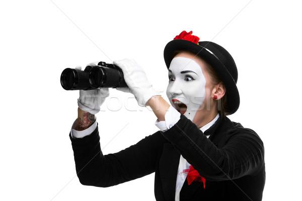 Portré meglepődött örömteli látcső nő izolált Stock fotó © master1305