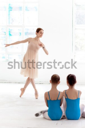 The little ballerina posing at ballet barre with personal teacher in dance studio Stock photo © master1305