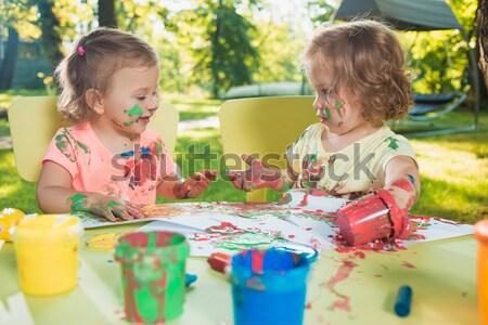 Stock fotó: öreg · lányok · festmény · poszter · festmények · együtt