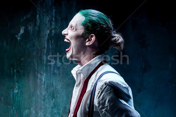 Bloody Halloween crazy Gesicht schwarz Schmetterling Stock foto © master1305