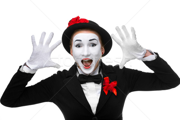 Stock photo: Portrait of the surprised and joyful mime with open mouth