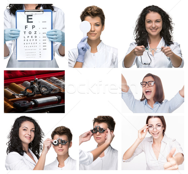 The collage  with optometrist and glasses  Stock photo © master1305