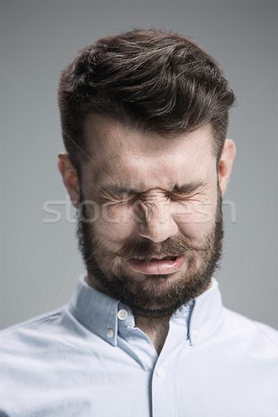 Huilen man tranen gezicht Blauw Stockfoto © master1305
