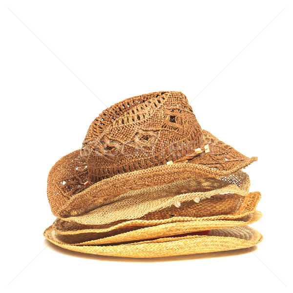 The lot of straw hats isolated on white background. Stock photo © master1305