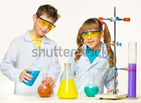 Foto stock: Adolescentes · maestro · química · lección · aislado