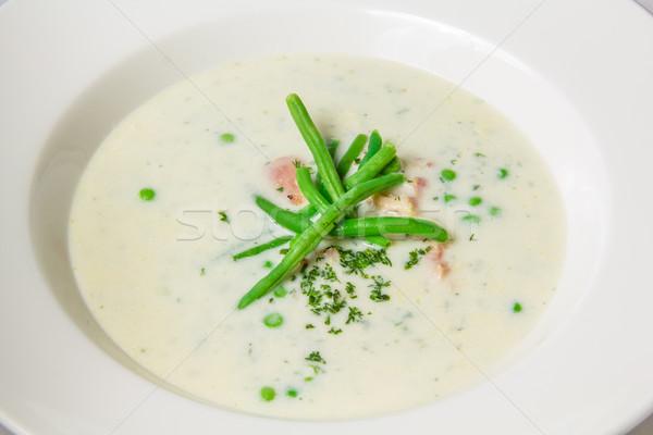 суп зеленый горох боб белый пластина Сток-фото © master1305
