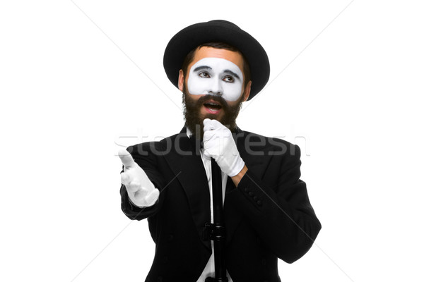 portrait of a man as mime with tube or retro style microphone Stock photo © master1305