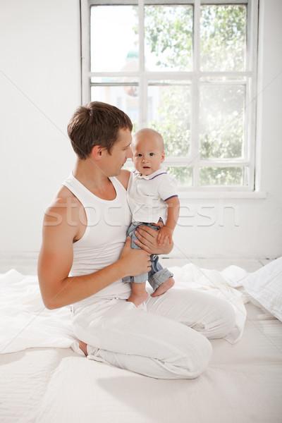 Jonge vader negen maanden oude zoon Stockfoto © master1305