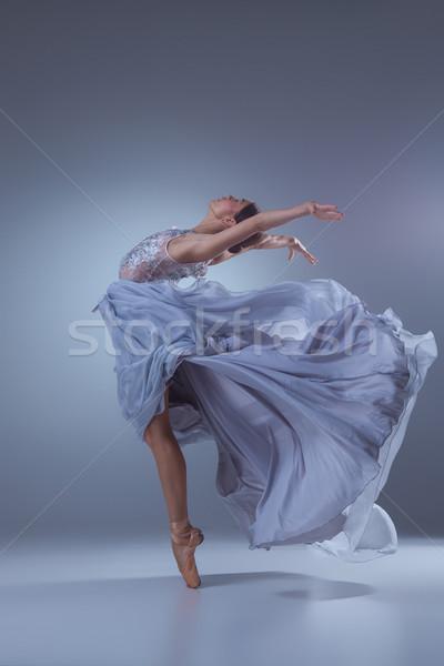 Gyönyörű ballerina tánc kék hosszú ruha Stock fotó © master1305