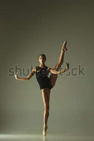 Genç güzel dansçı bej mayo dans Stok fotoğraf © master1305