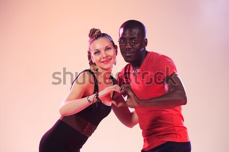 The young cool black man and white woman Stock photo © master1305