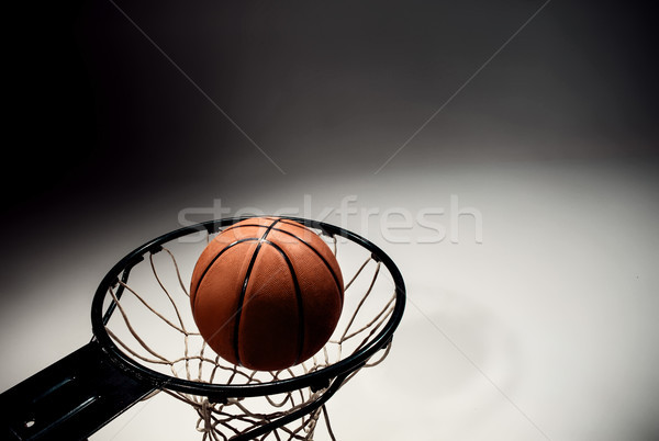Basketball board and basketball ball on gray background Stock photo © master1305