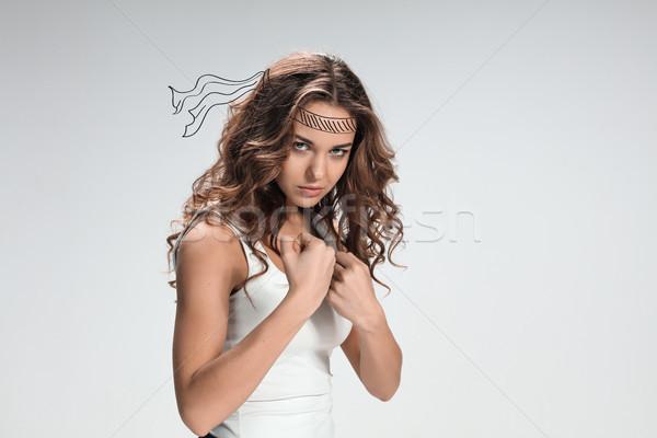 Portret hevig vrouw grijs meisje Stockfoto © master1305