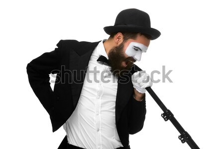 Man with a face mime screaming into megaphone  Stock photo © master1305