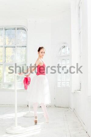 Genç modern balerin poz beyaz pencere Stok fotoğraf © master1305