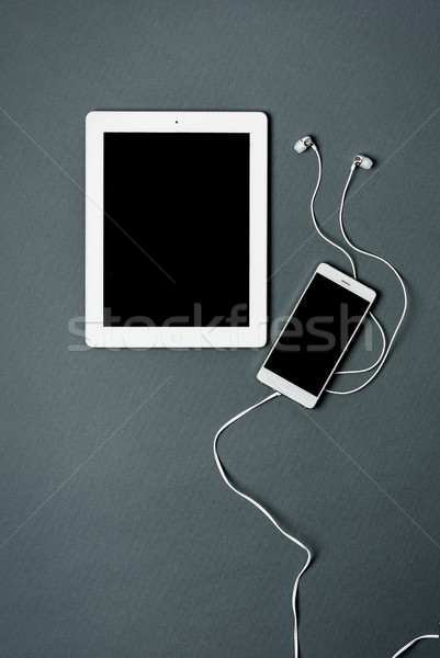 Mock-up business template with phone, tablet. Gray background. Stock photo © master1305