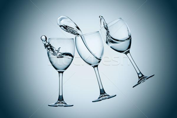 Three water glasses splash Stock photo © master1305