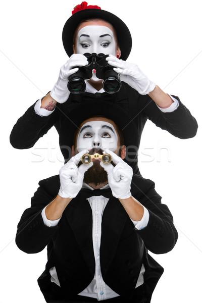 Stockfoto: Twee · zakenlieden · naar · verrekijker · geïsoleerd · witte