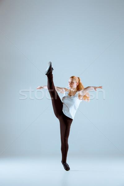 Vrouwen dansen hip hop fitness grijs studio Stockfoto © master1305