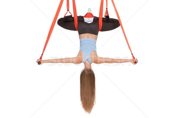 Aéreo yoga hamaca sin costura blanco Foto stock © master1305