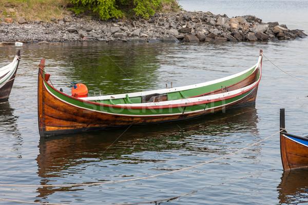 Foto stock: Pequeño · barco · agua · Noruega · madera · paisaje