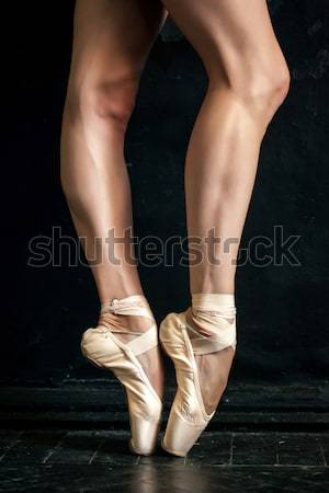 The close-up  foot of young ballerina in  old pointe shoes  Stock photo © master1305