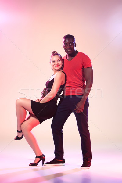 The young cool black man and white woman is dancing Stock photo © master1305