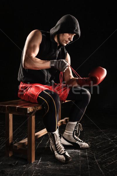 Giovane kickboxing guanto giovani maschio atleta Foto d'archivio © master1305