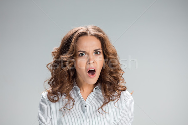 Portrait of young woman with shocked facial expression Stock photo © master1305