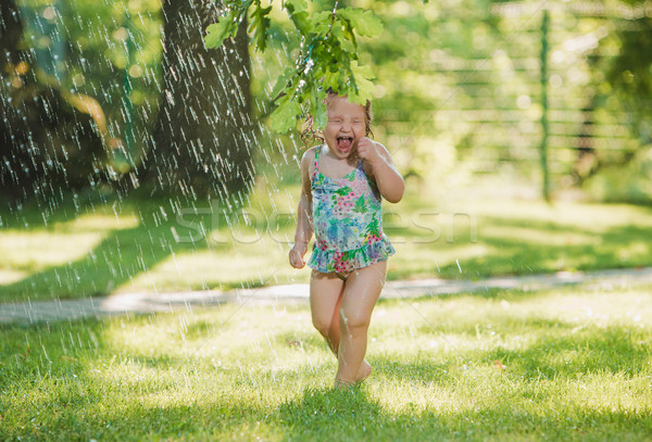 The little baby girl playing with garden sprinkler. Stock photo © master1305