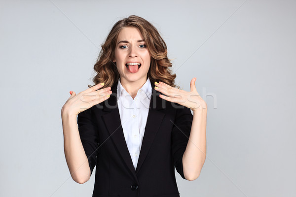 Stock fotó: Portré · fiatal · nő · megrémült · arckifejezés · szürke · üzlet