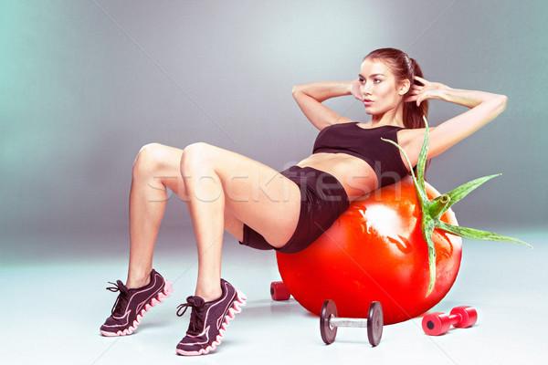 Donna aerobico esercizio pomodoro fitness Foto d'archivio © master1305