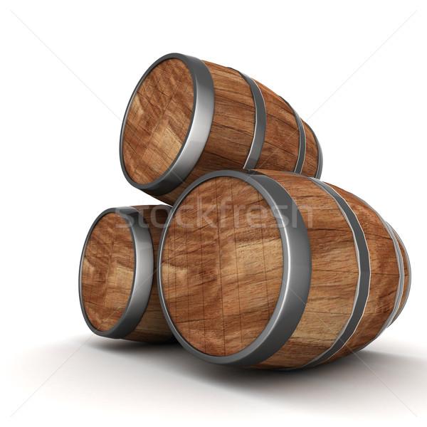Holz Barrel Bild alten Eiche Wein Stock foto © mastergarry