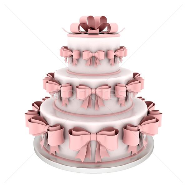 Mooie bruidstaart witte bruiloft verjaardag huwelijk Stockfoto © mastergarry