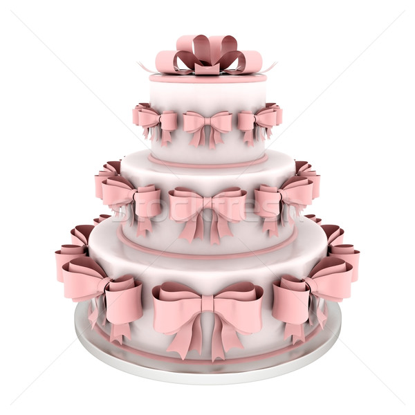 Belo bolo de noiva branco casamento aniversário casamento Foto stock © mastergarry