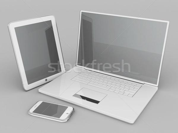 Laptop comprimido cinza negócio escritório Foto stock © mastergarry