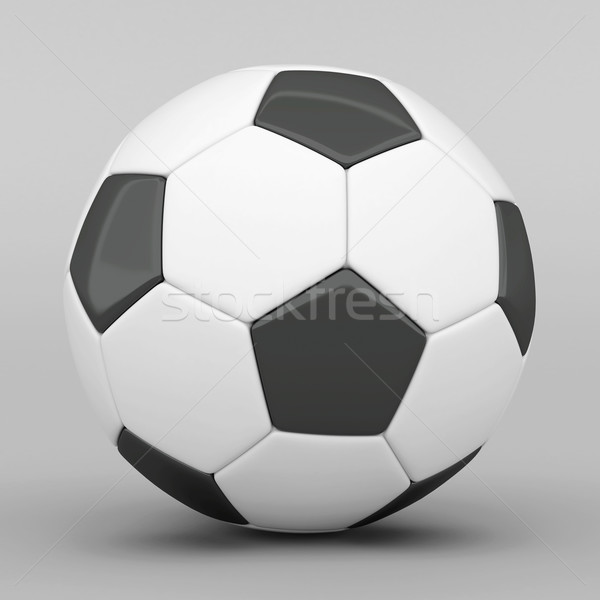 Stockfoto: Foto · voetbal · grijs · voetbal · leder · witte
