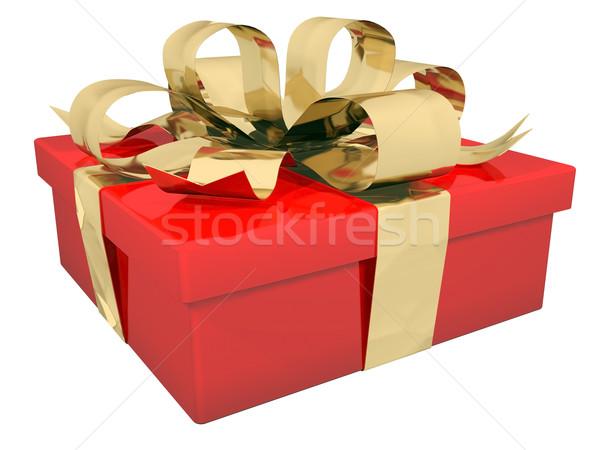 Stockfoto: Mooie · geschenkdoos · boeg · Rood · witte