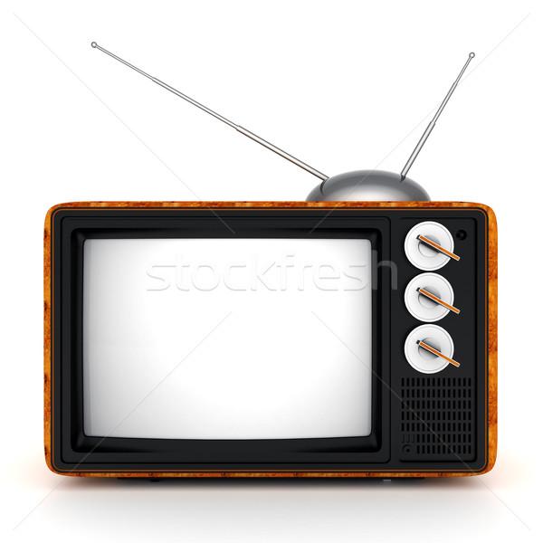 Oude tv afbeelding witte televisie achtergrond Stockfoto © mastergarry