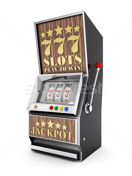 Játékautomata hazárdíroz gép fehér pénz háttér Stock fotó © mastergarry