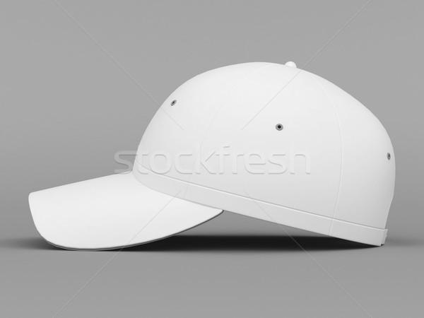 Fehér baseballsapka szürke egészség háttér szépség Stock fotó © mastergarry