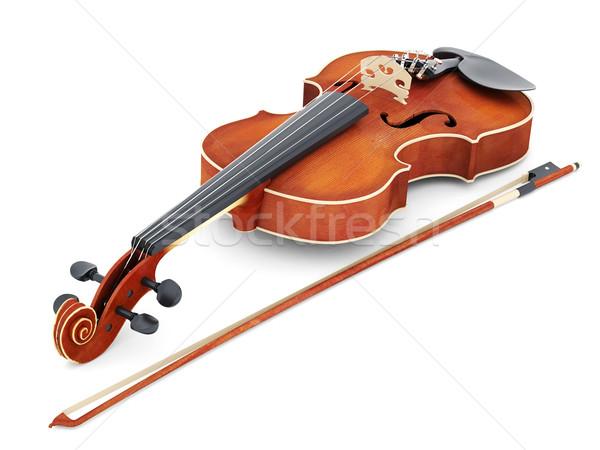 Belo violino branco isolado arte cor Foto stock © mastergarry