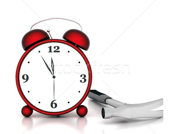 Despertador belo imagem vermelho branco assinar Foto stock © mastergarry